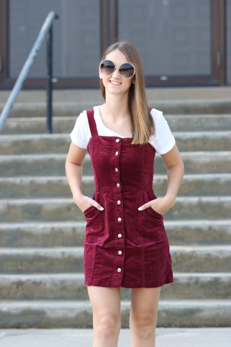 corduroy overall dress, overall dress, fall style, nyfw street style