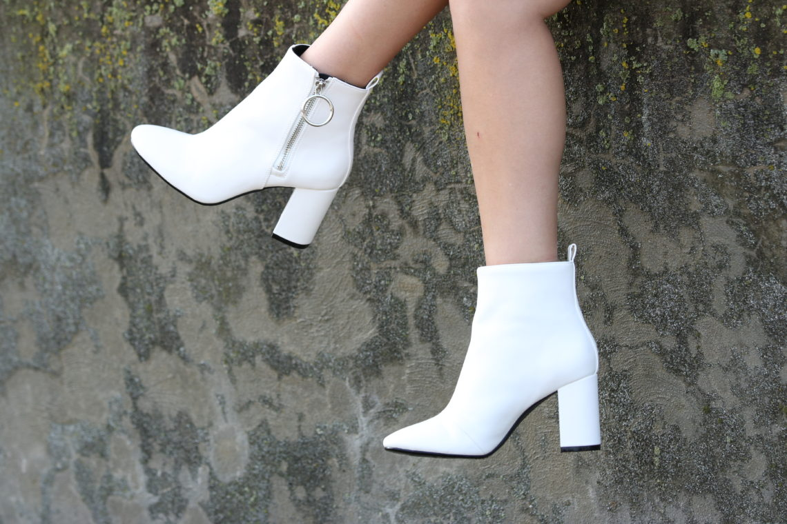 white booties, fall booties