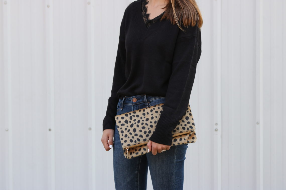 Black Lace-Trimmed Sweater