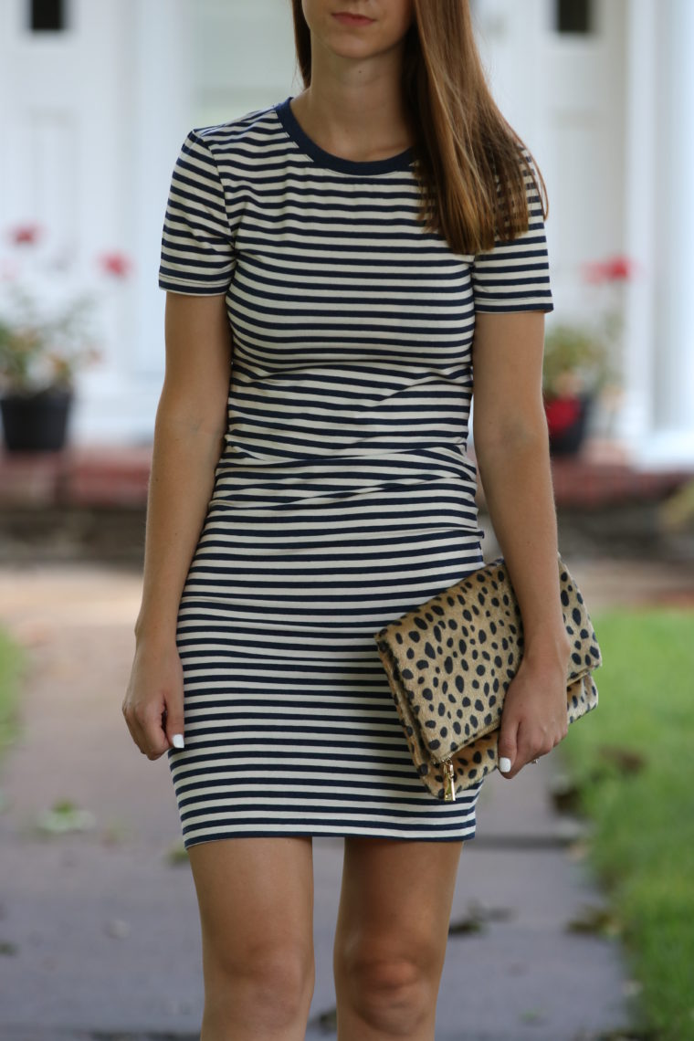 striped dress, casual style, leopard clutch