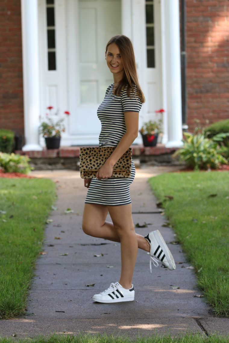 striped dress, leopard clutch, casual style