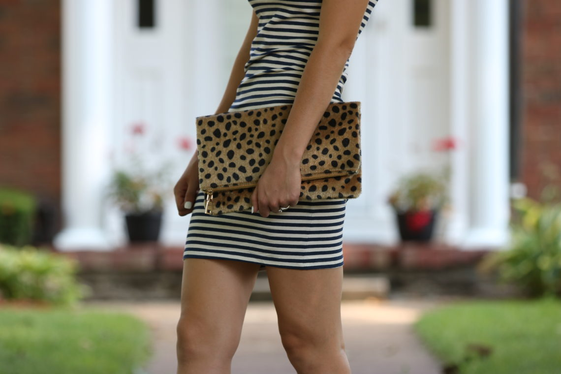 leopard clutch, striped dress, casual style