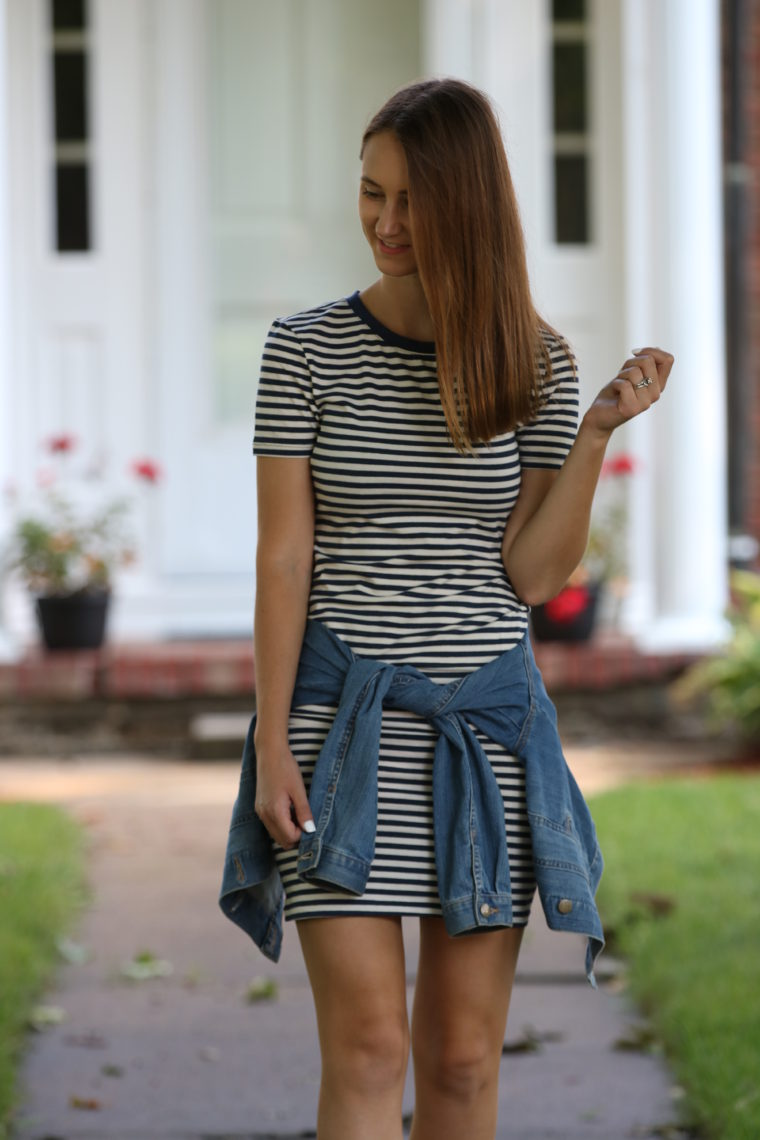 striped dress, fall style, casual style