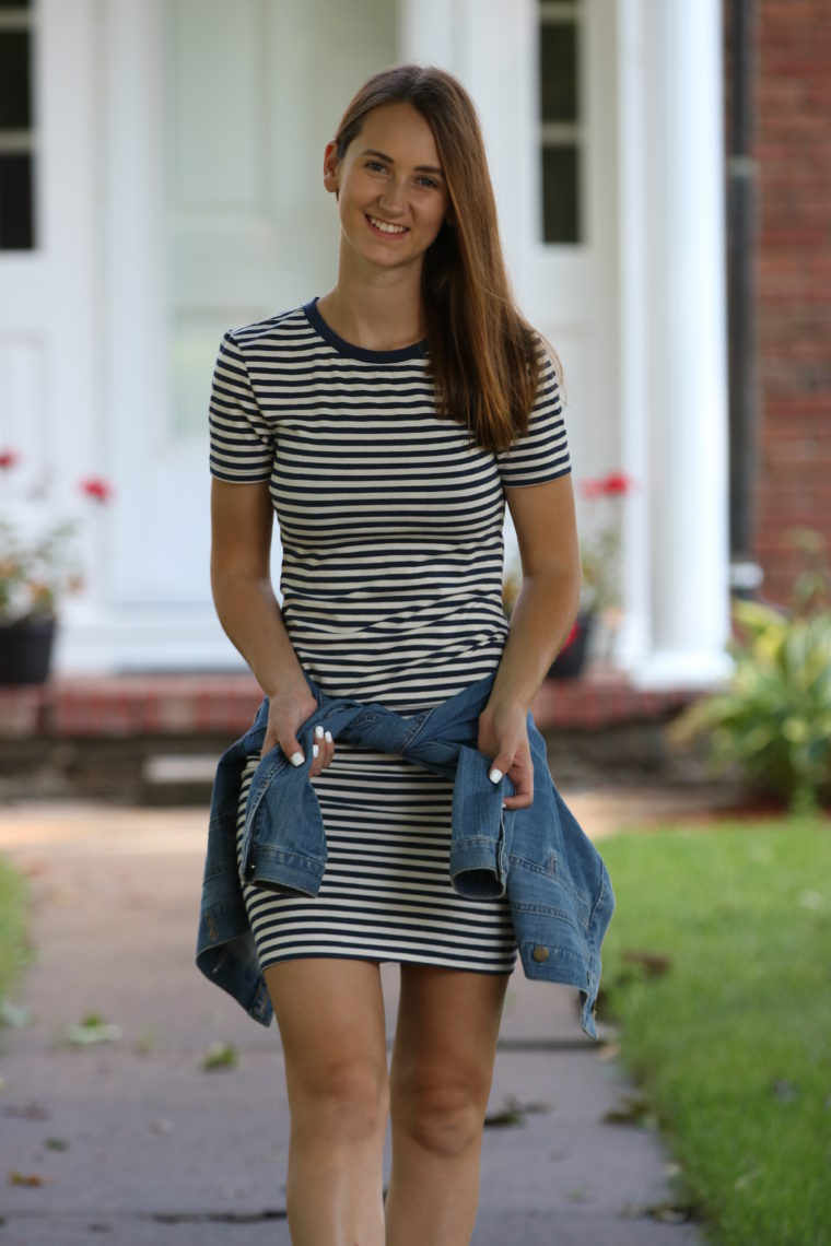 striped dress, casual style, fall style