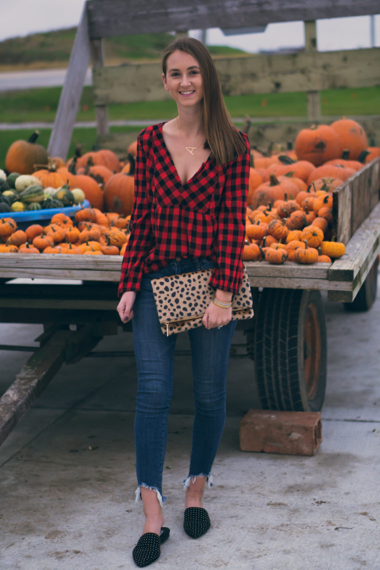 leopard clutch, gingham top, fall style