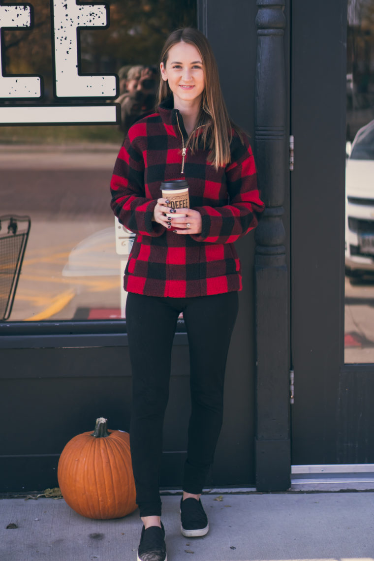 sherpa pullover, buffalo plaid pullover, comfy style