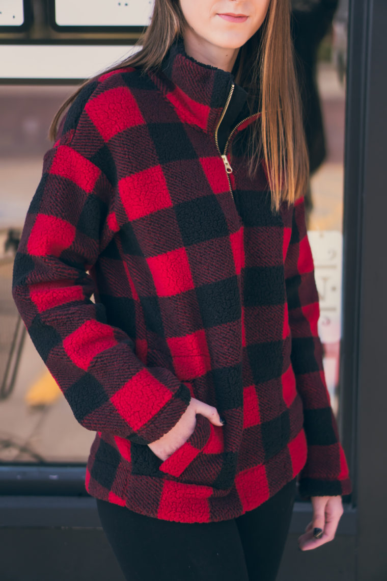 buffalo plaid pullover, sherpa pullover, comfy style