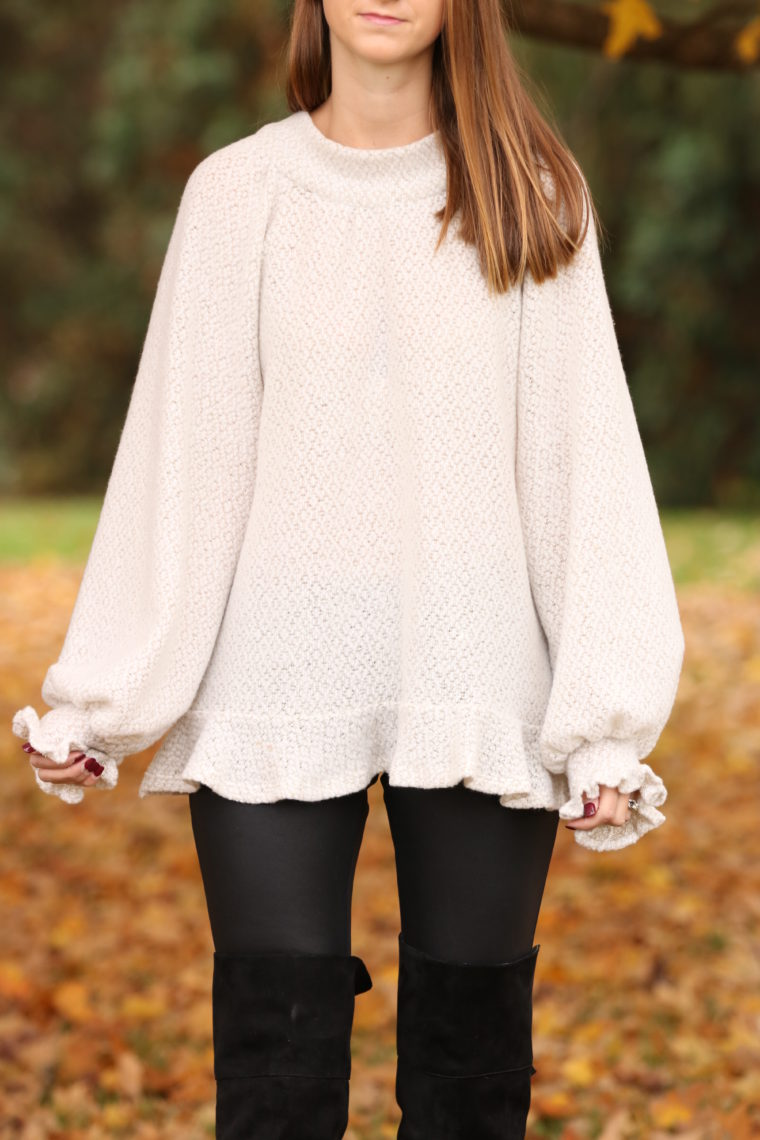 ruffle sleeve sweater, soft sweater. comfy style, fall style