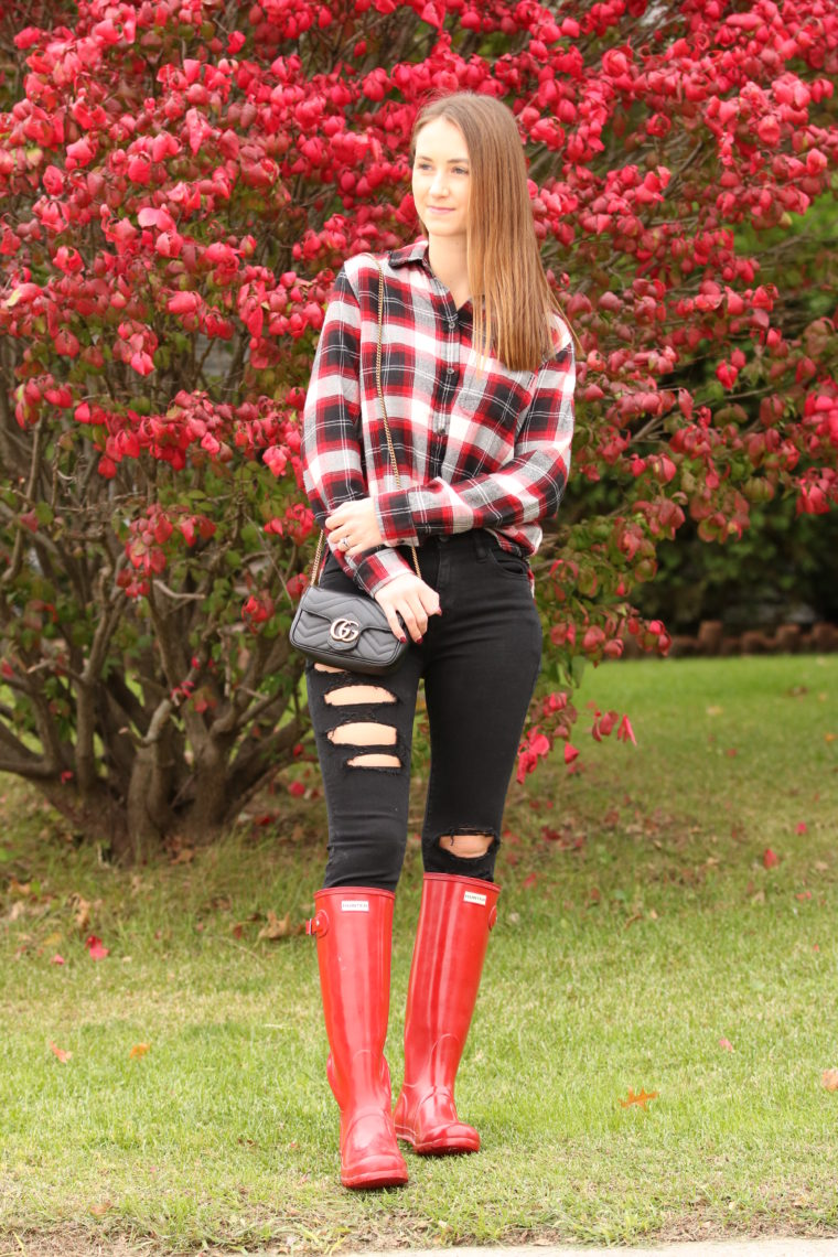 plaid long sleeve, red Hunter boots, fall style