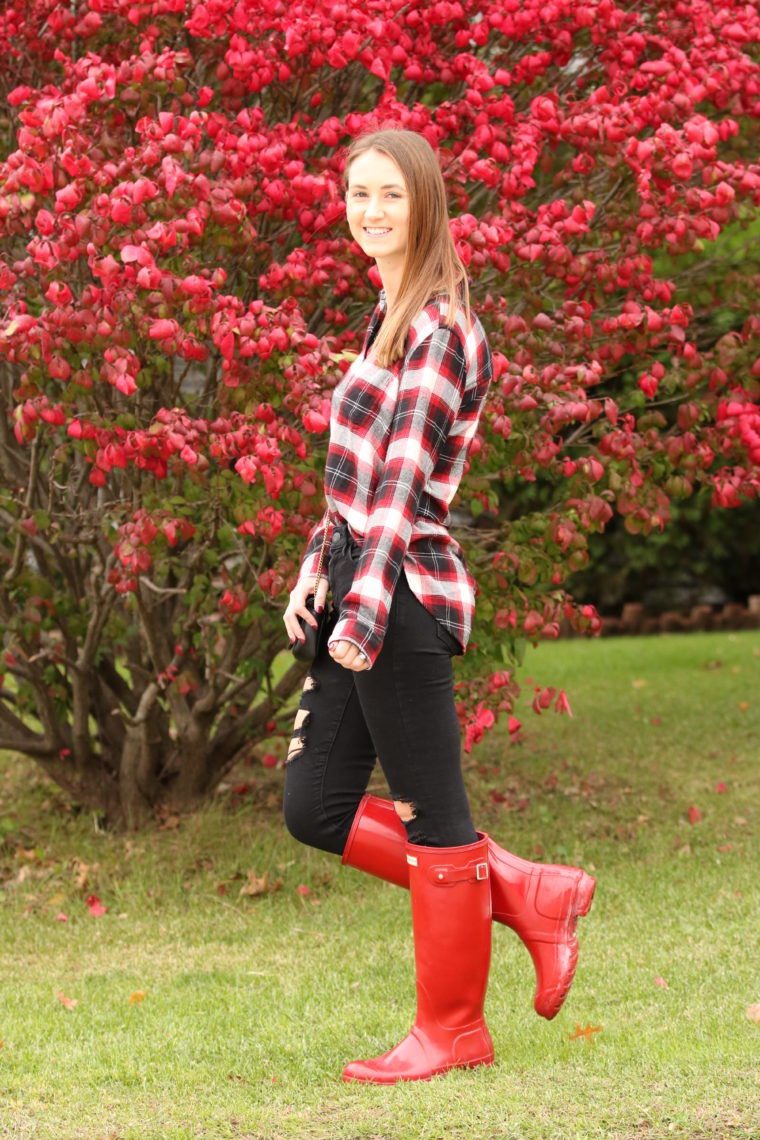red & black plaid top, red Hunter boots, fall style