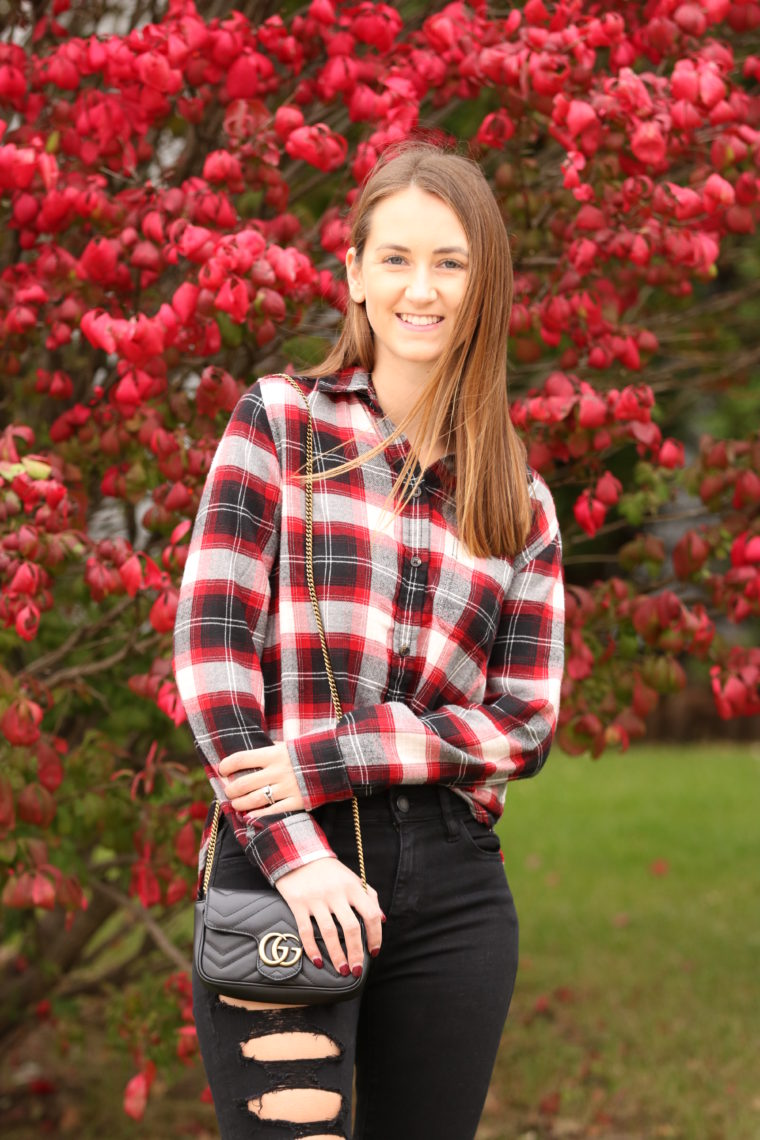 red plaid top, plaid long sleeve, fall style
