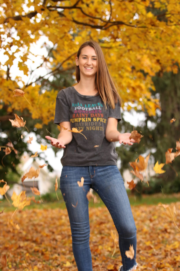 fall favorites, yellow leaves, fall style, throwing leaves