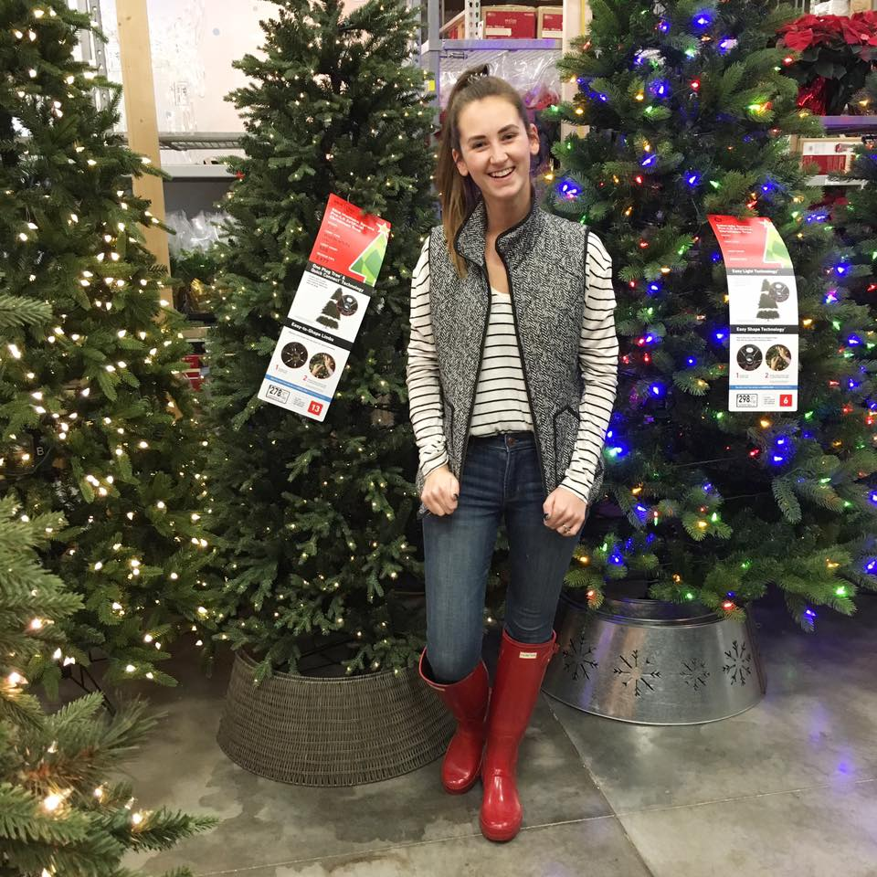 red Hunter boots, Christmas trees, Lowe's
