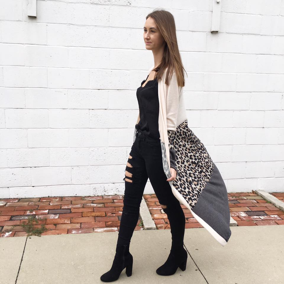 leopard duster, OTK boots, fall style