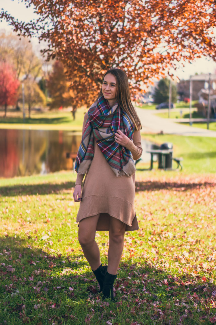 sweater dress, plaid blanket scarf, fall style