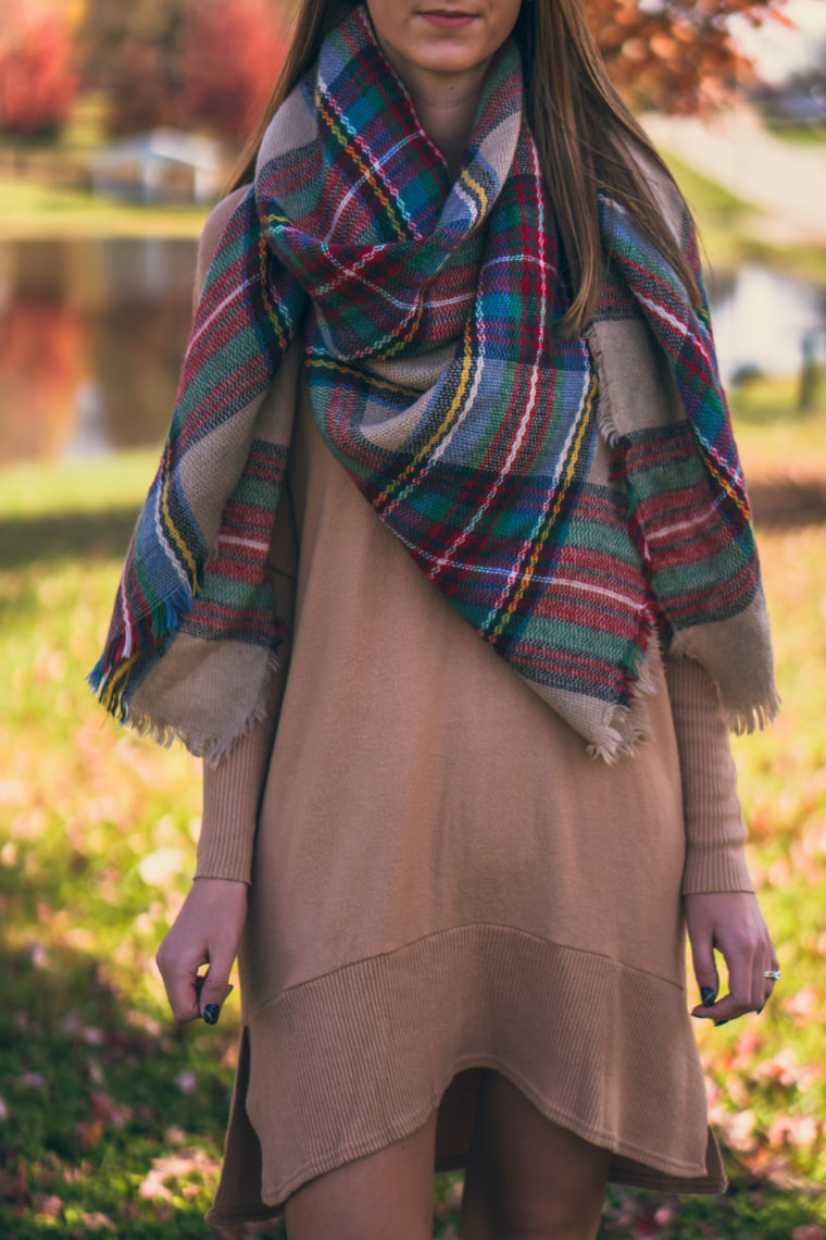 sweater dress, plaid blanket dress, fall style