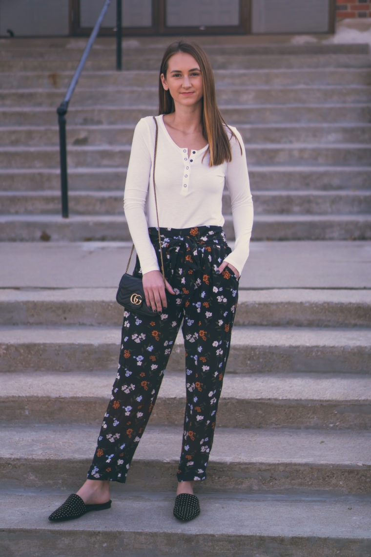 floral pants, studded mules, fall style