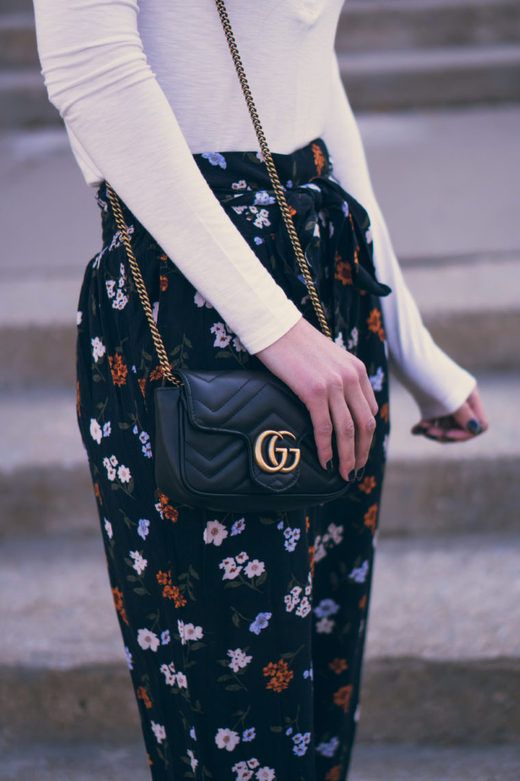 floral pants, Gucci bag, fall style