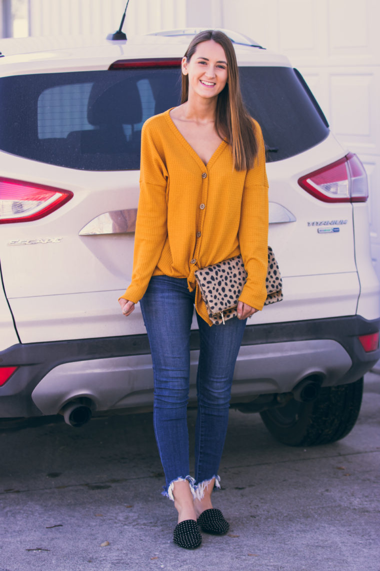 yellow tie front top, studded mules, leopard clutch, fall style