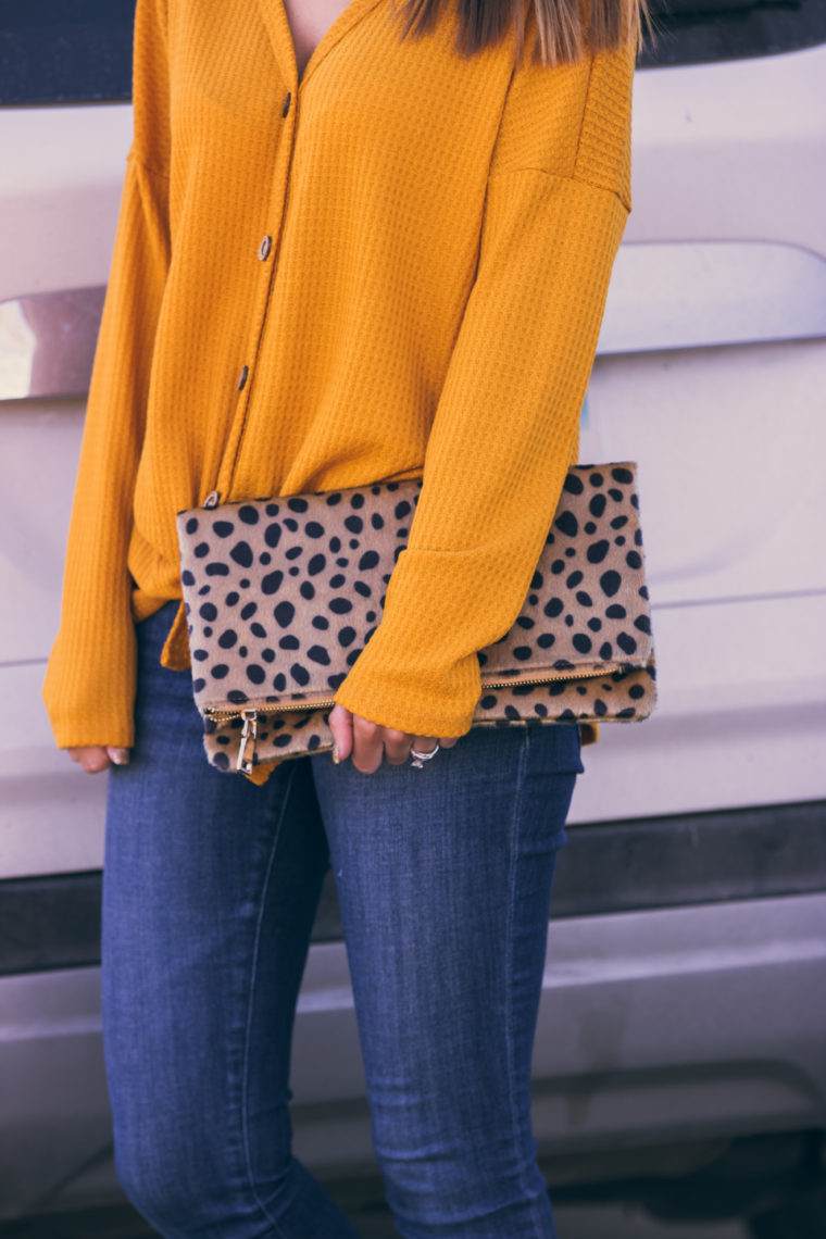 mustard yellow top, leopard clutch, fall style