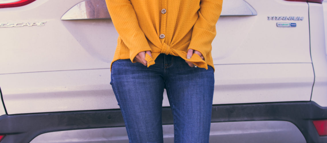 Mustard Yellow Tie Front Thermal