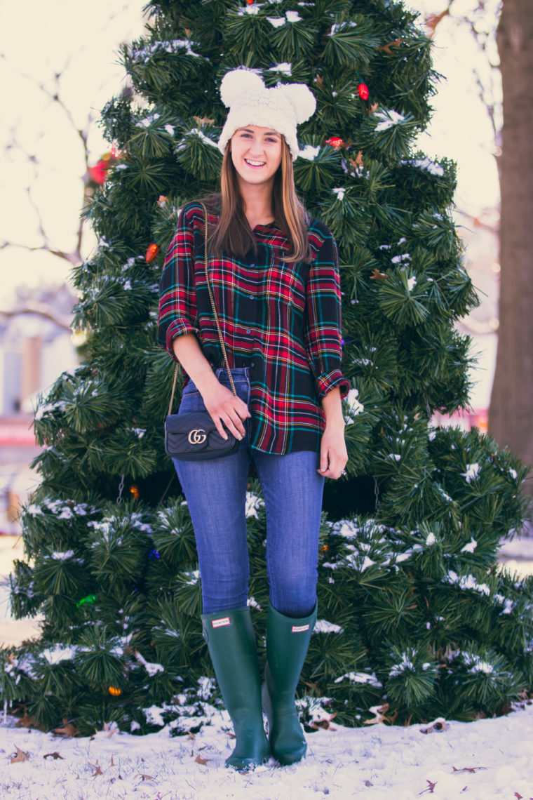 plaid top, white beanie, holiday style