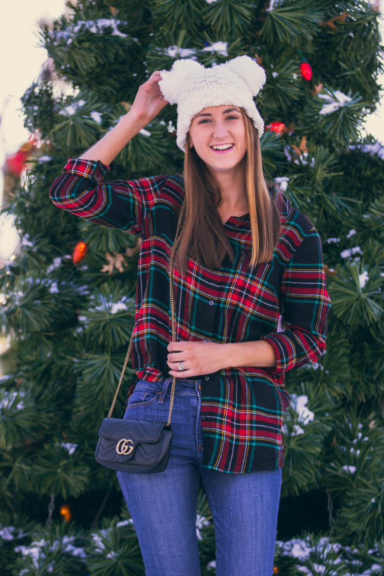 Gucci bag, white beanie, holiday style