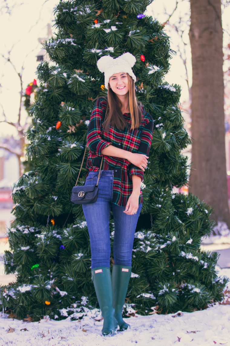 green Hunter boots, white beanie, holiday style
