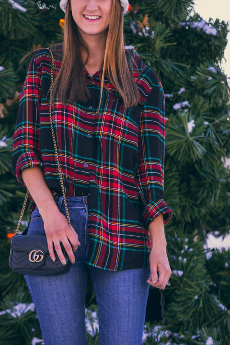 Gucci bag, plaid top, holiday style