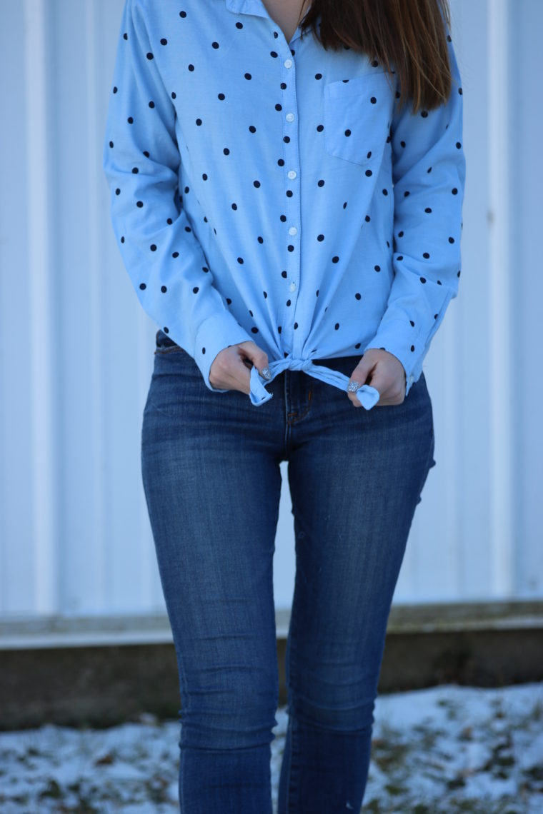 Blue Polka Dot Tie-Hem Shirt