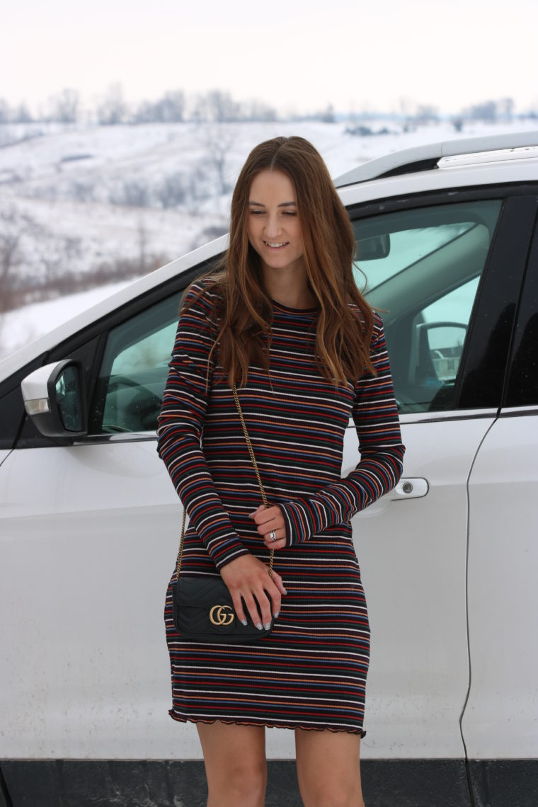 striped dress, Gucci bag, winter style
