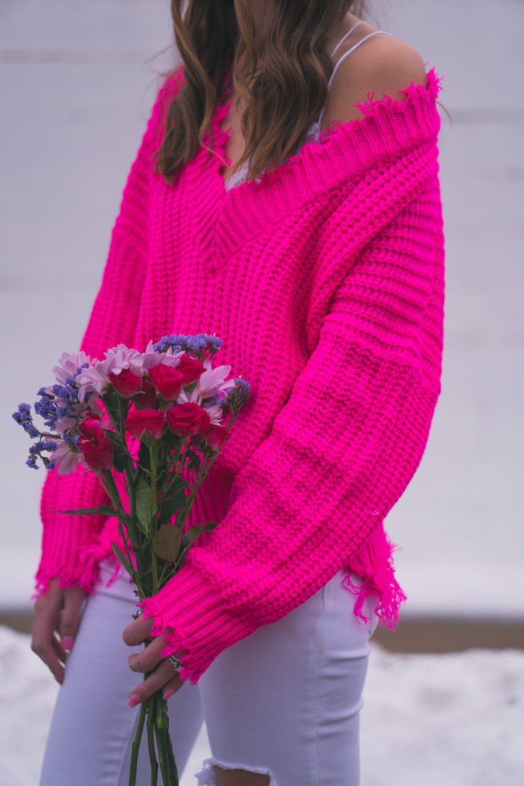 fuchsia sweater, Valentine's Day outfit, off the shoulder sweater