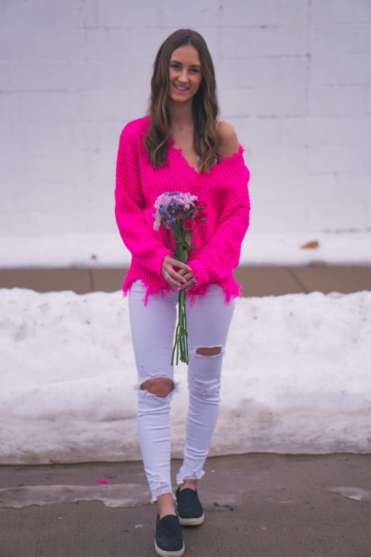 fuchsia sweater, destroyed hem, vday outfit