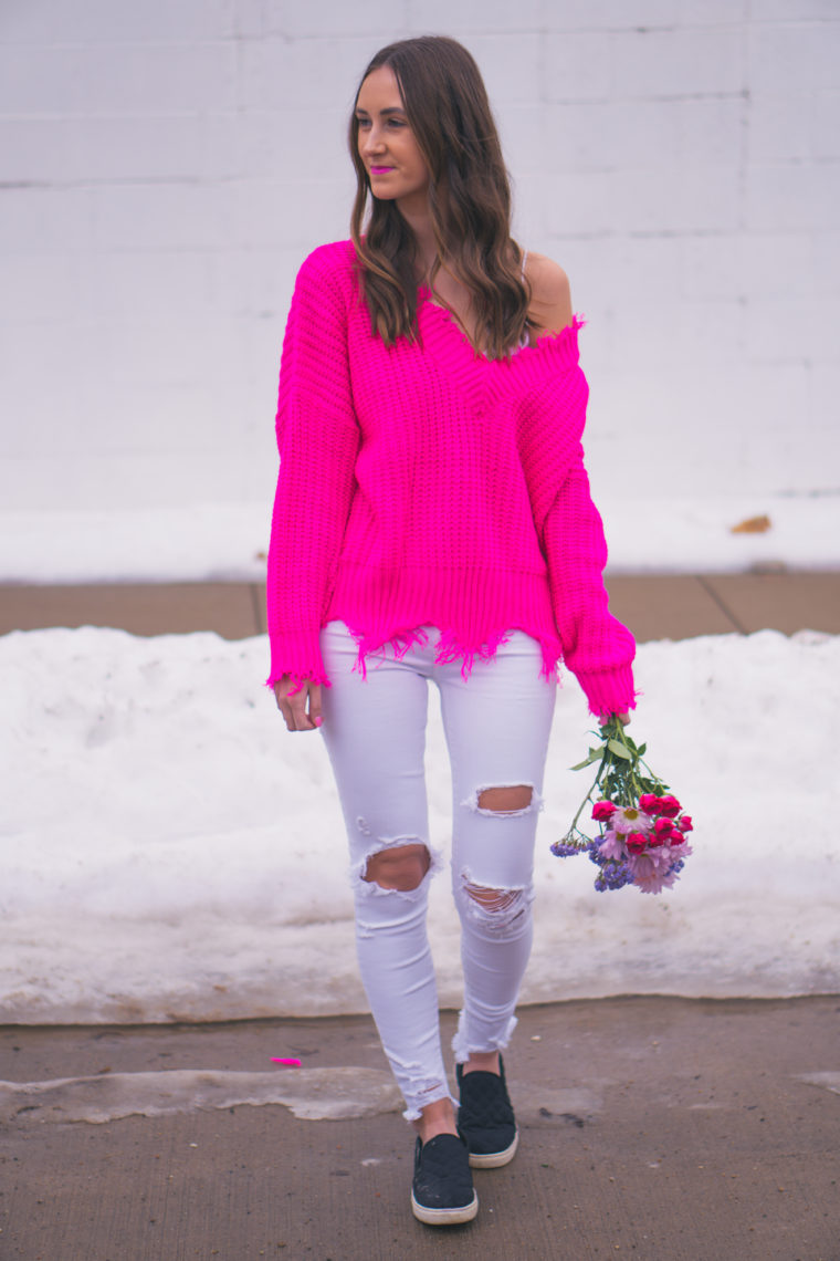 fuchsia sweater, Valentine's Day outfit, winter style
