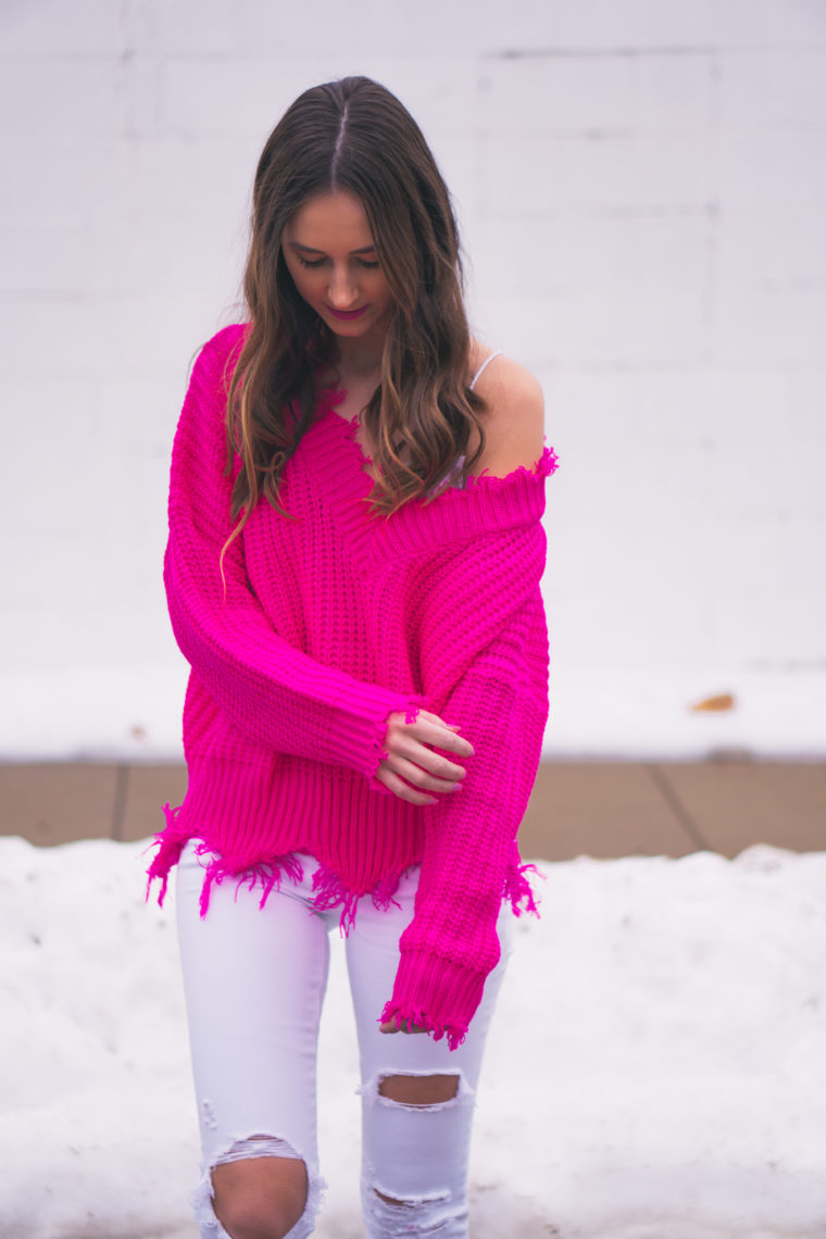 fuchsia sweater, Valentine's Day outfit, destroyed sweater