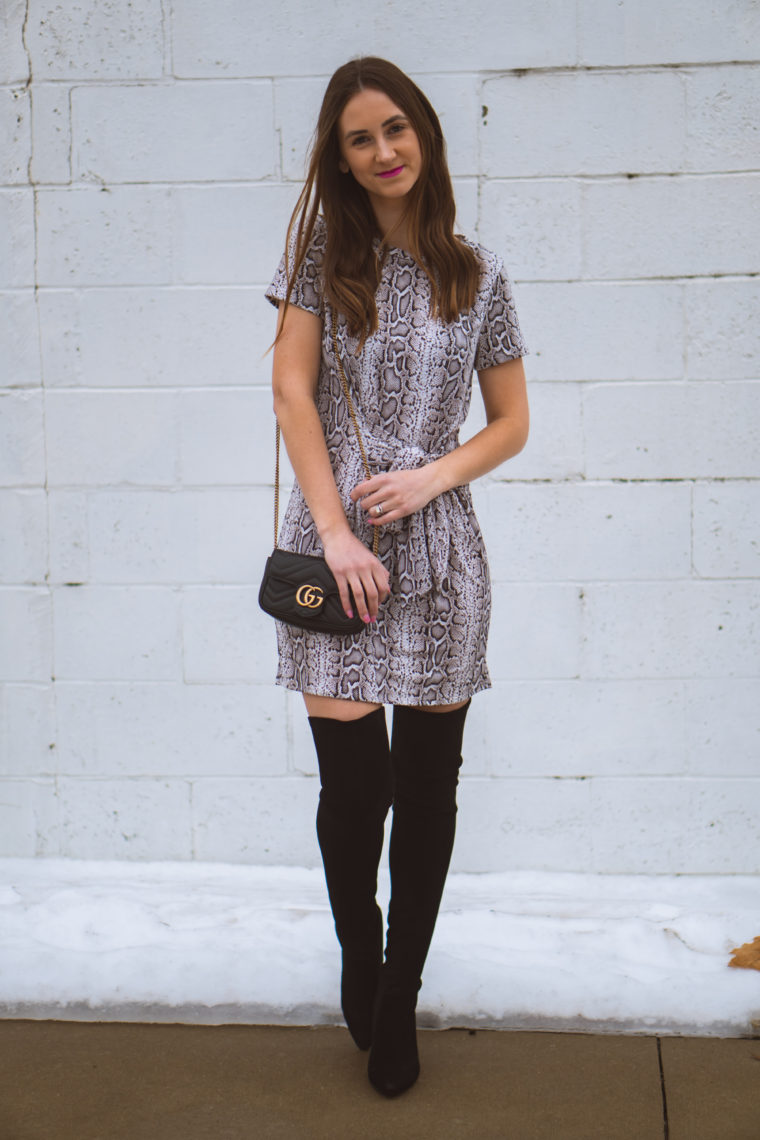 snakeskin dress, over the knee boots, date night look