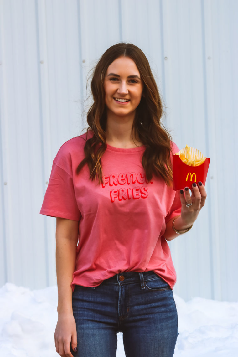 french fries graphic tee, casual style