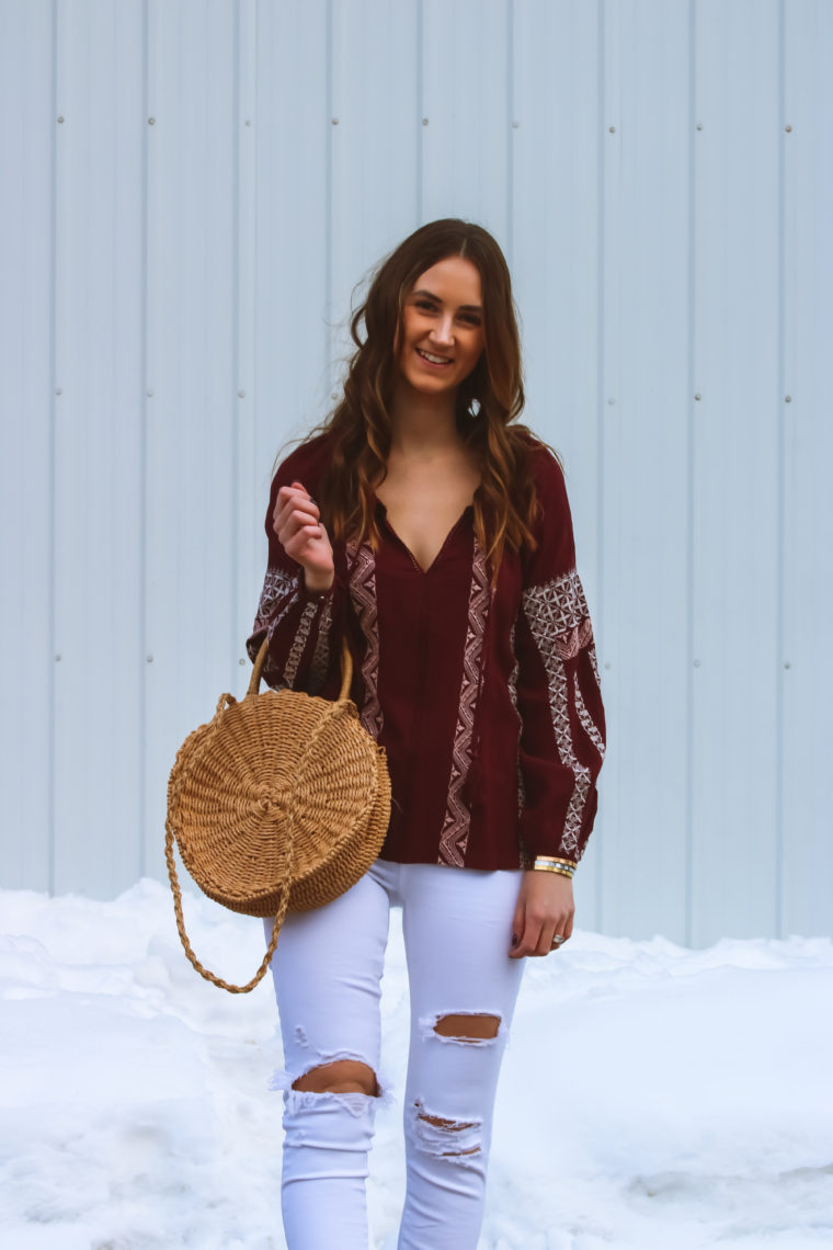 cd9985f0c5 Burgundy Embroidered Peasant Top - For The Love Of Glitter