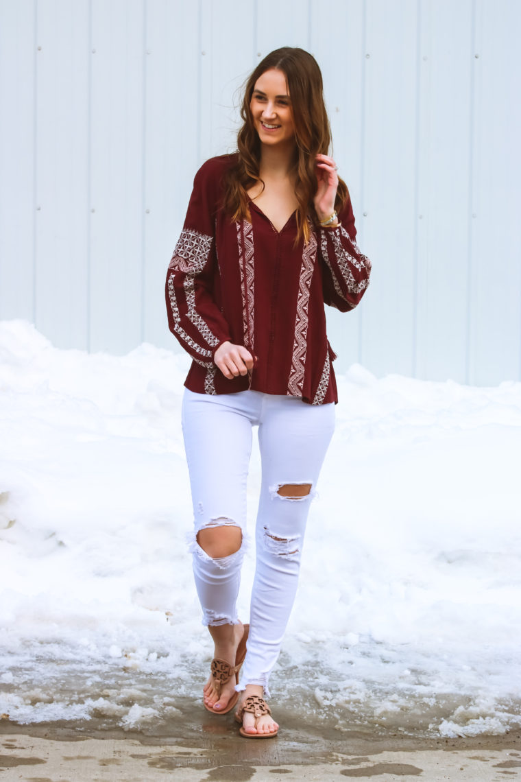 Burgundy Embroidered Peasant Top