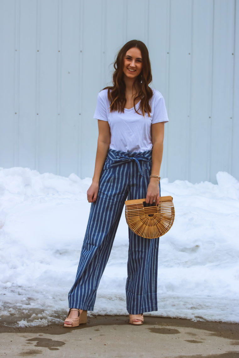 striped palazzo pants, striped pants, spring style