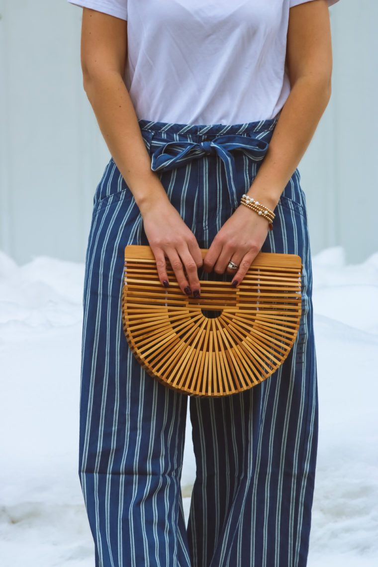 Cult Gaia bag, striped pants, spring style