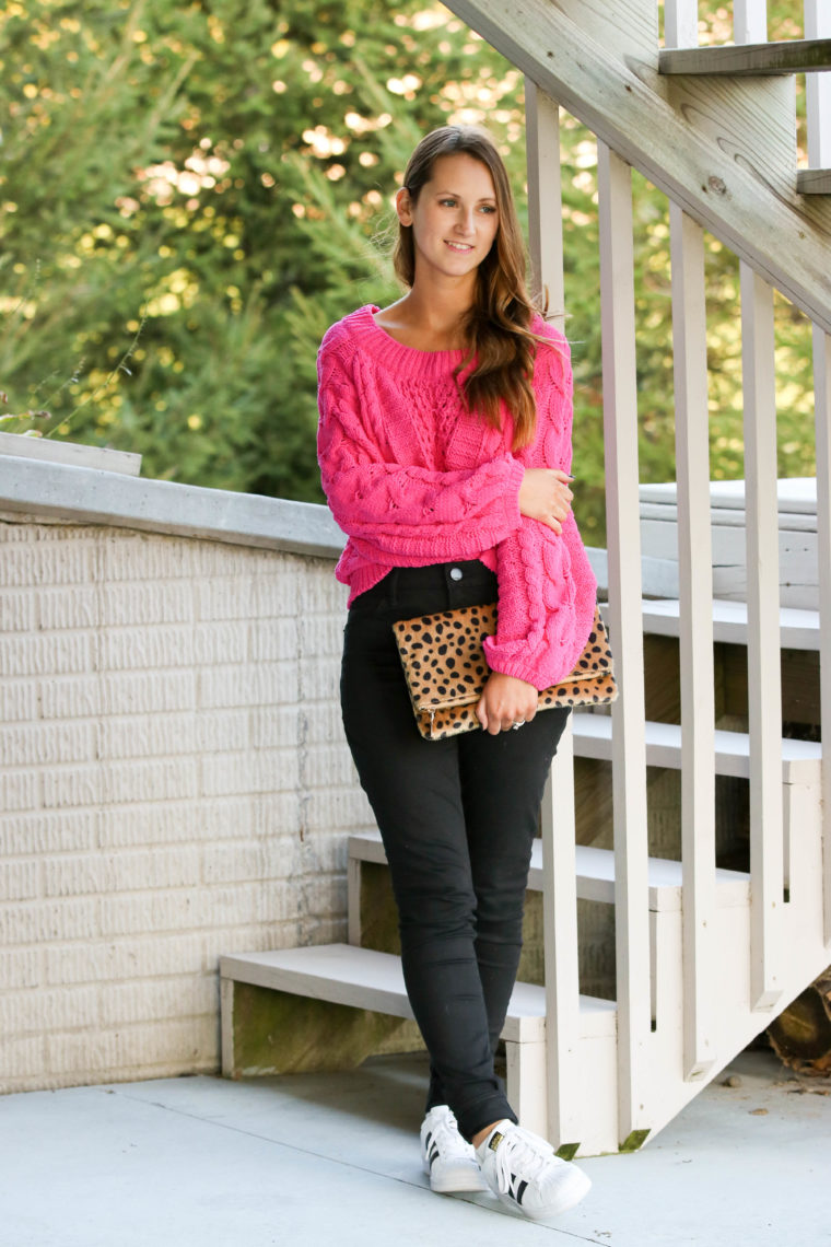 a0a5295eb91 Hot Pink Cable Knit Sweater - For The Love Of Glitter
