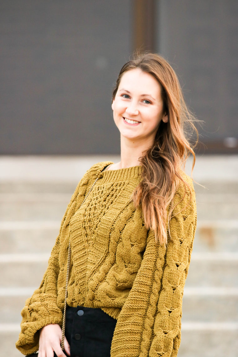 8dc5ff72986b5 Fern Cable Knit Chenille Balloon Sleeve Sweater - For The Love Of ...