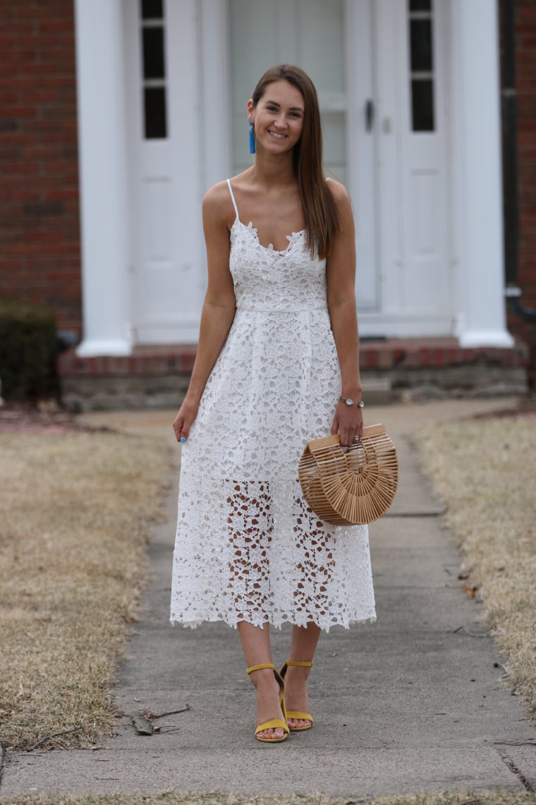 59f452a1e9 White Lace Midi Dress - For The Love Of Glitter