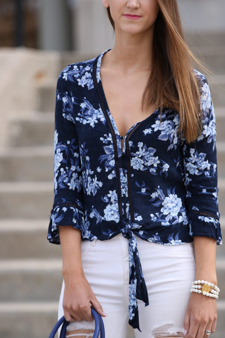 36e64615 Floral Ruffle Hem Button Down Shirt - For The Love Of Glitter