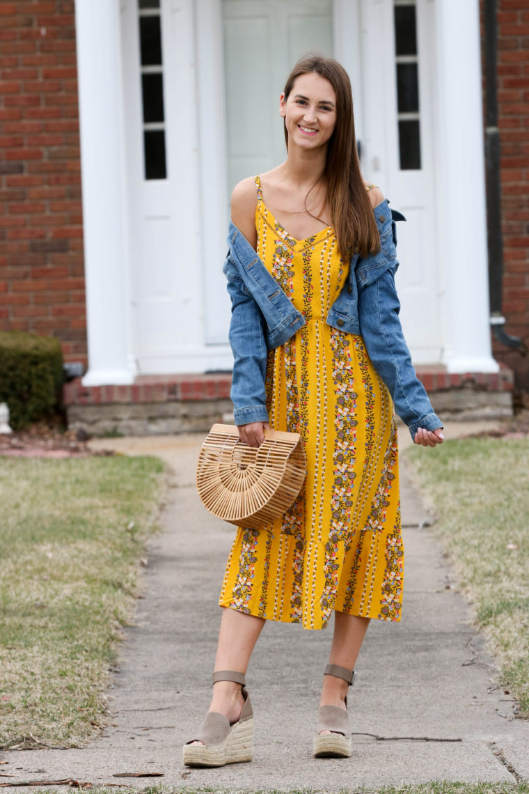 84f3648db15a denim jacket, yellow cami dress, spring style, for the love of glitter. yellow  floral cami dress, fit & flare ...