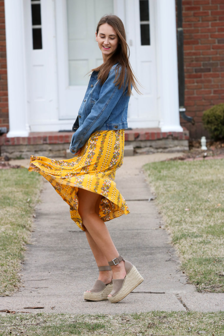 Fit Amp Flare Yellow Floral Cami Midi Dress For The Love