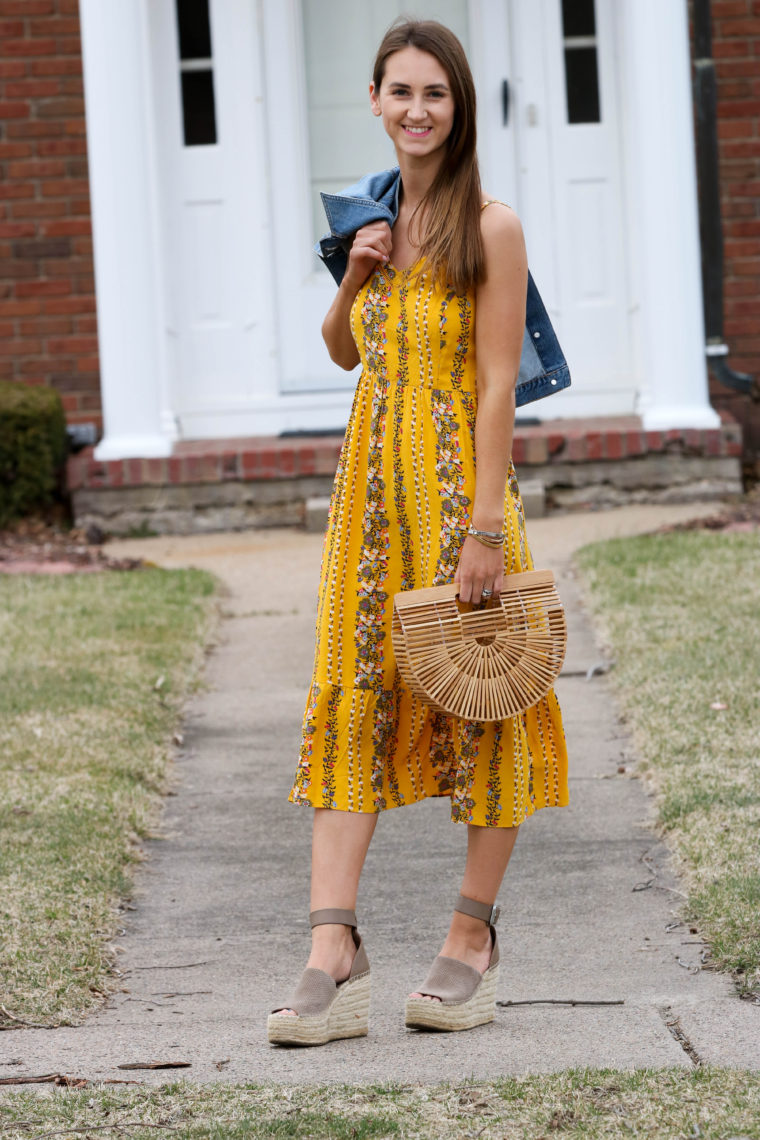 6a2652419d2c Fit & Flare Yellow Floral Cami Midi Dress - For The Love Of Glitter