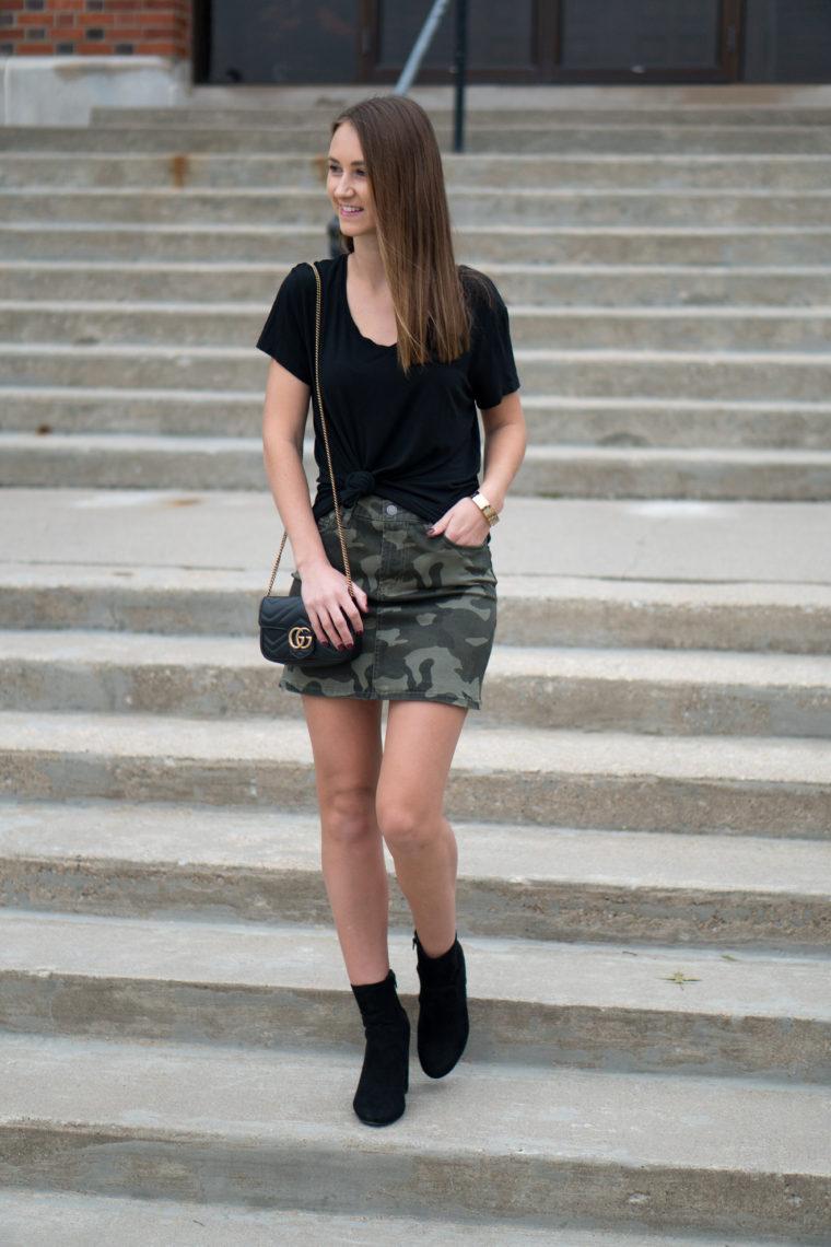 8c5574ff3 camo skirt, black sock booties, Gucci bag, fall style