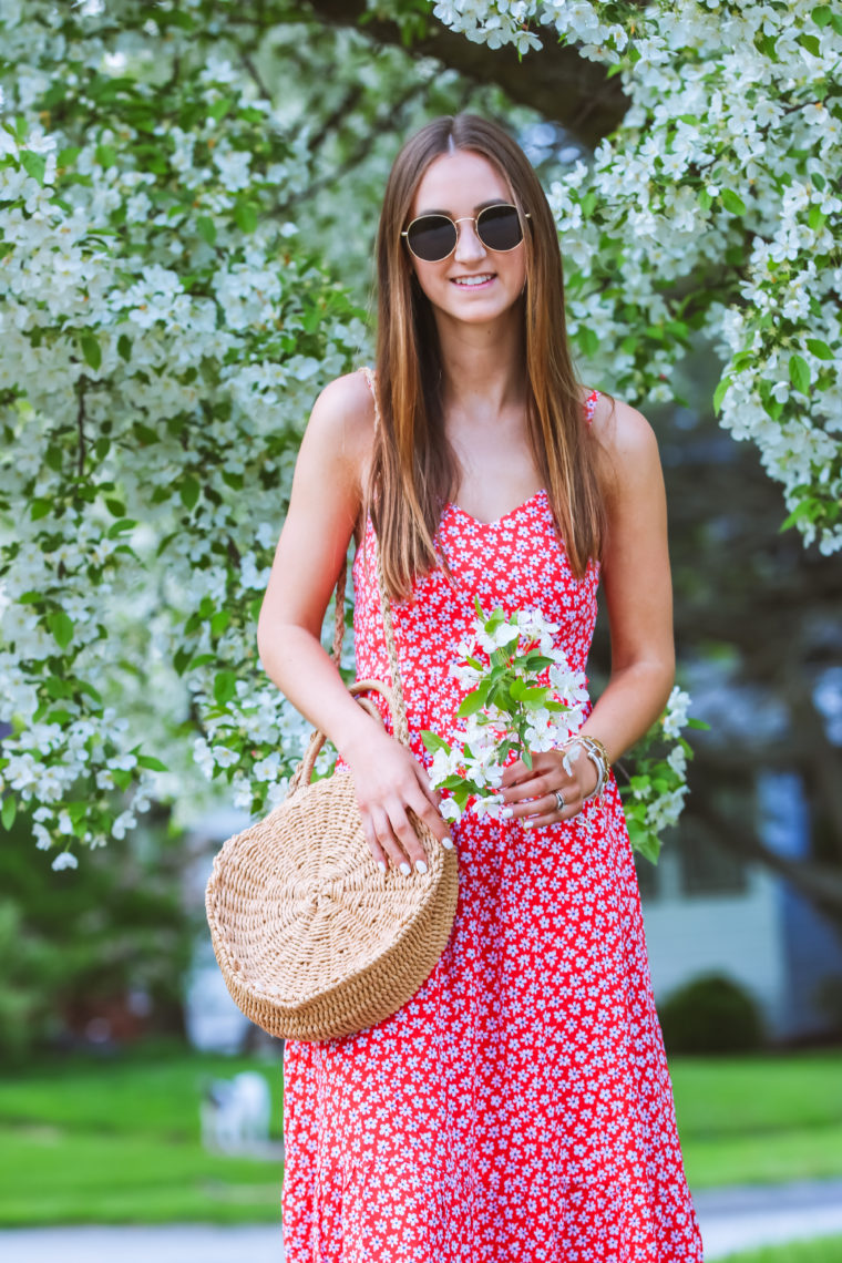 Red Floral Fit & Flare Midi Dress